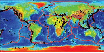 carte du monde des volcans
