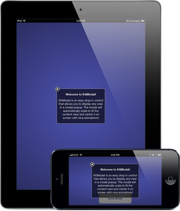 KGModal: easy drop in control that allows you to display any view in a modal popup   iPhone and iPad development   Scoop.it