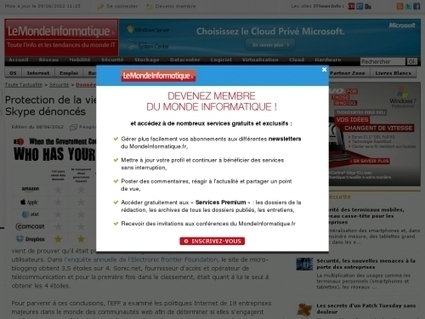Protection de la vie privée : Twitter primé, Foursquare et Skype dénoncés | Websourcing.fr | Quand la communication passe au web | Scoop.it