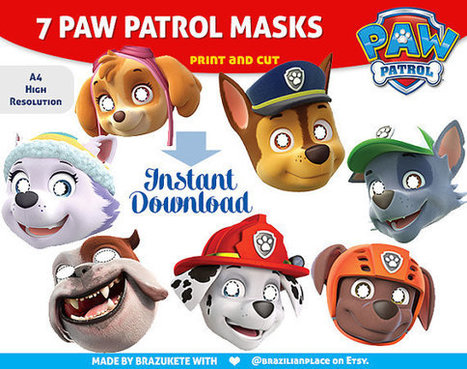 7 Paw Patrol Printable Kids Masks Funny Faces Party Invite Birthday Fun  Kids Dress Up Props Instant Download A4 Patrulha Canina