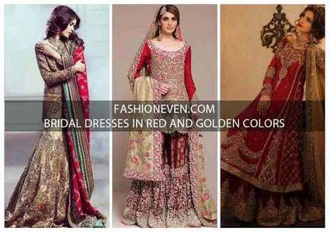 32227cf67c05ff Pakistani Bridal Dresses In Red And Gold Colors 2018