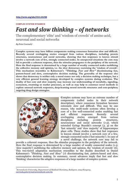 Fast and slow thinking -- of networks: The complementary 'elite' and 'wisdom of crowds' of amino acid, neuronal and social networks | Cognitive Science - Artificial Intelligence | Scoop.it