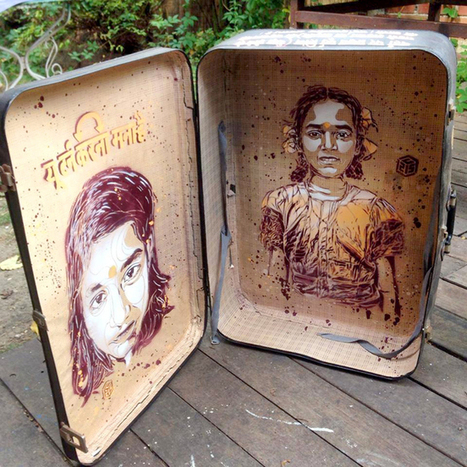 Stencil street art by french artist c215 on the streets of New Delhi, India. | Street art news | Scoop.it