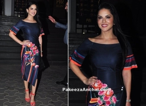 Sunny Leone in Floral Print Blue Boat Neck Dress, #ActressInBlueDresses, #ActressInSkirts, #AsymmetricalDressPatterns, #AsymmetricalSkirt, #BollywoodActress, #BollywoodDesignerDresses, #CelebrityDr... | Indian Fashion Updates | Scoop.it