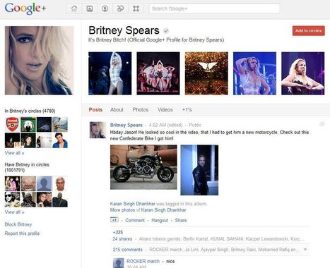 Page Fan Google plus Britney Spears + d'un million de Fans | Youseo | googleplus | Scoop.it
