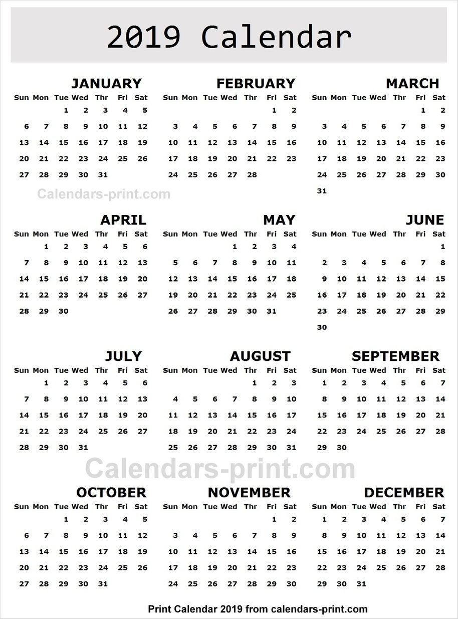 2019 Calendar Image to Print Free | Download Bl