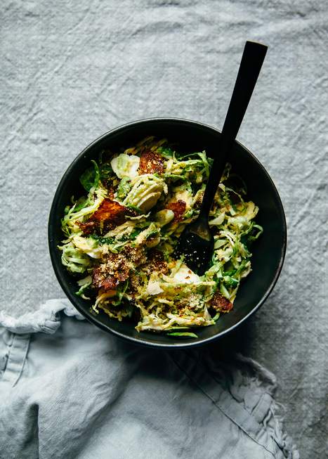 "Citrus Brussels Sprouts Slaw w/ Crispy ""Bacon"" Bits (vegan) 