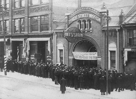 1932 Unemployed line up for food at Yonge St Mission, Toronto | A Cultural History of Advertising | Scoop.it