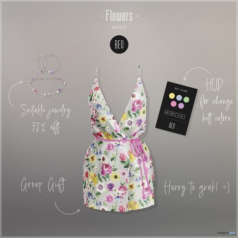 8ffdf4d93 Flowers Dress July 2018 Group Gift by BEO | Teleport Hub - Second Life  Freebies
