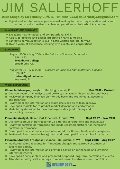 financial analyst resume template 2018 in resume 2018 samples usa