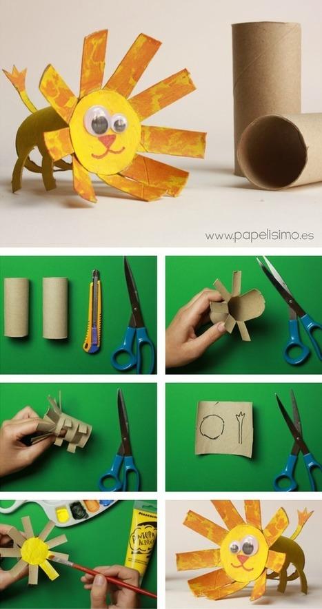 Animales con rollos de papel higinico