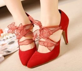 Wholesale Fashion pumps with bowknot cuspate toe flock shoes XD-FD8205-6 red - Lovely Fashion | fashion chic styles(peep toe,pumps) | Scoop.it