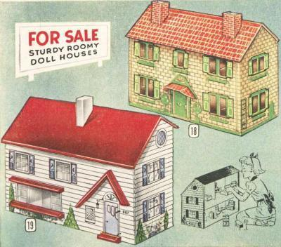 Vintage dollhouses and dollhouse furniture from Christmas 1948