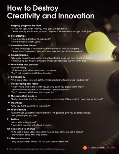 How to Destroy Creativity and Innovation | The Key To Successful Leadership | Scoop.it