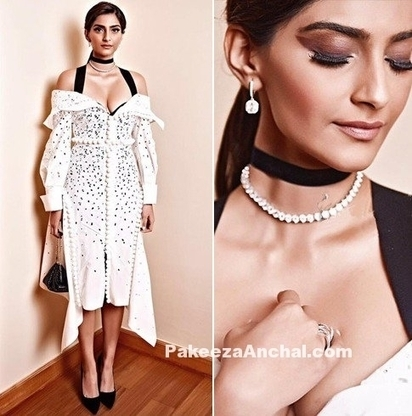 Sonam Kapoor in Midi dress at Fight Hunger Foundation dinner, #ActressInWhiteDresses, #BollywoodActress, #BollywoodDesignerDresses, #CelebrityDresses, #ChokerNecklace, #ChokerStyles, #DesignerWear,... | Indian Fashion Updates | Scoop.it