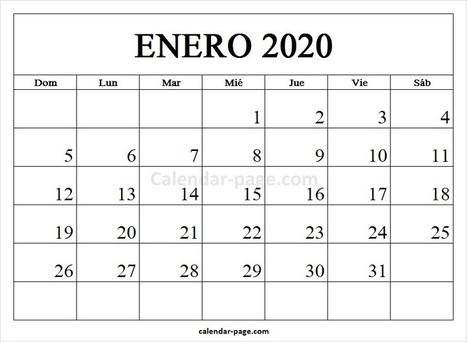 Calendario Diciembre 2020 Para Imprimir.Enero 2020 Calendario Calendario 2020 En Espa