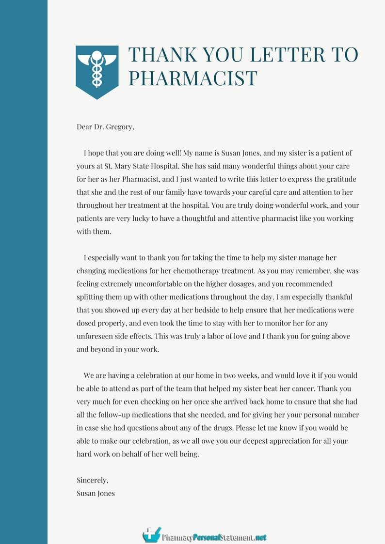 thank you letter to pharmacist example