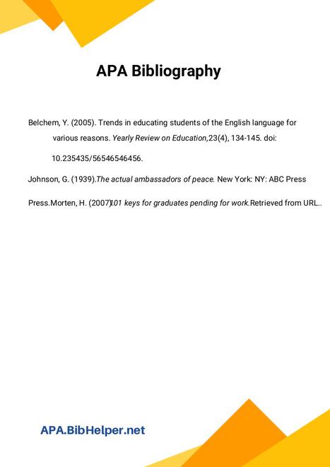 APA Bibliography Template | Bibliography Sample...