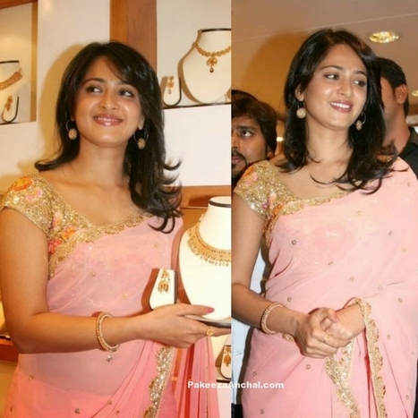 c979725f7ef54 Anushka Shetty in Pink Saree and Party Wear Gold blouse