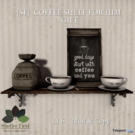 Coffee Shelf For Him Gift by Shutter Field | Teleport Hub - Second Life Freebies | Second Life Freebies | Scoop.it