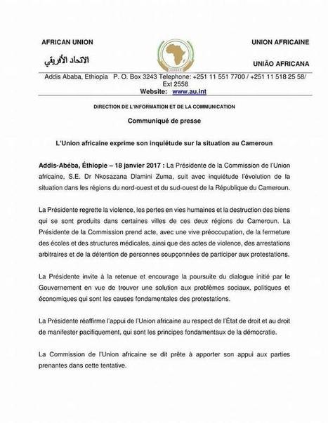 # PANAFRICOM/ <br/>CONFIDENTIEL AFRIQUE : LA COMMISSION DE L&rsquo;UNION AFRICAINE APPUIE LA SECESSION ANGLOPHONE AU CAMEROUN ! | AFRIQUE MEDIA TV | Scoop.it