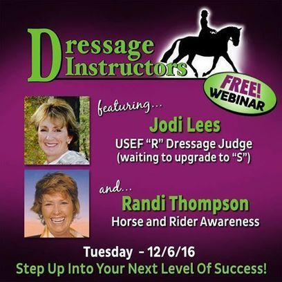 Are you a dressage instructor in the horse world? If so... then this FREE Dressage Instructor Webinar is what you have been looking for!    | Horse and Rider Awareness | Scoop.it