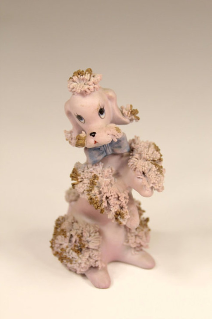 Vintage Lavender Lilac Pink Spaghetti Poodle Ceramic Figurine with Gold Accents Mid-Century Modern Kitsch Made In Korea | Kitsch | Scoop.it