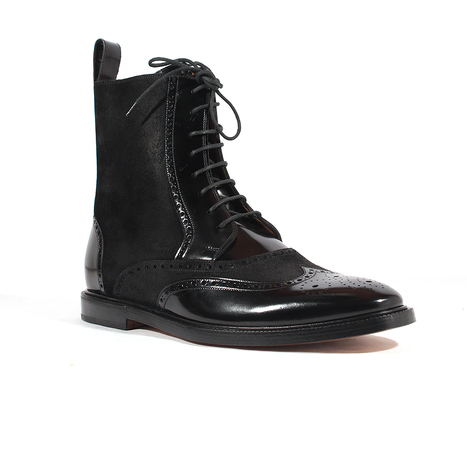 0ad0a13d1e19f Gucci Mens Shoes Black Leather and Suede Boots (GGM1519)