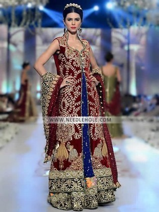 Traditional Bridal Gown Dress In Maroon Color By Tabassum Mughal Stand Collar Pointed U Neck Fully Embellished Wedding Comes With Floor Length