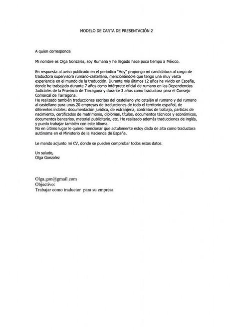 Ejemplo 2 de carta de presentación | com...