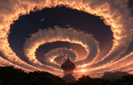 Cloud spiral in the sky. An Iridescent (Rainbow) Cloud in Himalaya. The phenomenon was observed early morning on October 18, 2009 | Planet Earth | Scoop.it