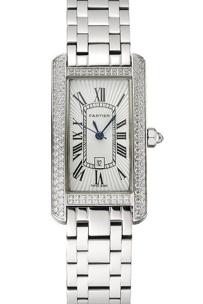 f7f73937e201 Replica Cartier Tank Americaine White Dial Diamond Bezel Ladies Watch    Men s   Women s Replica Watches