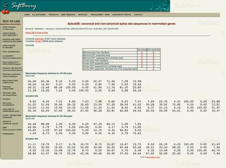 SpliceDB - canonical and non-canonical splice site sequences in mammalian genes | bioinformatics-databases | Scoop.it