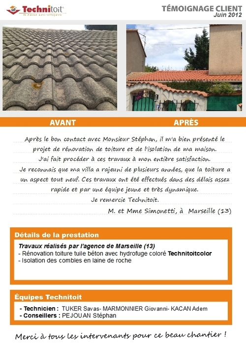 [Témoignage] Rénovation toiture tuiles béton et isolation de combles à Marseille (13)